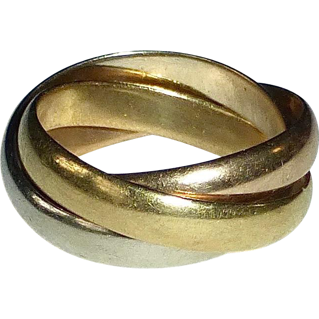 Cartier 18k Trinity Tri-Color Rolling Band Ring Yellow Pink White