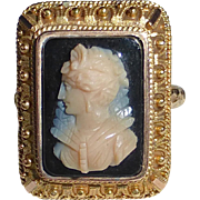 Victorian 14k & 18k Etruscan Revival Ornate Stone Cameo Ring