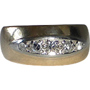 14k Band Ring with 5 Diamonds