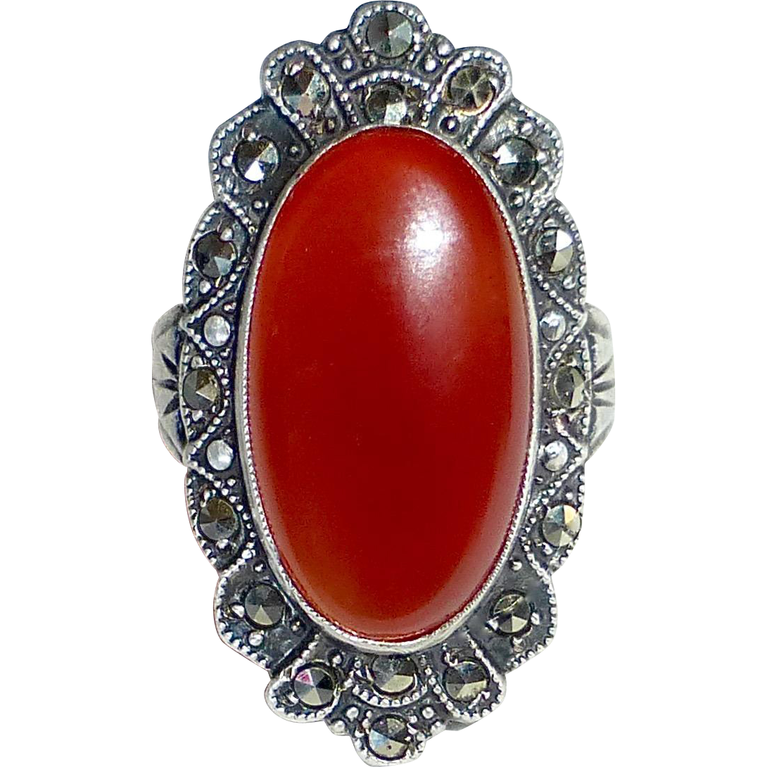 Uncas Sterling Art Deco Carnelian & Marcasite Ring