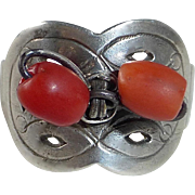 Chinese Ethnic Sterling & Coral Bead Adjustable Ring