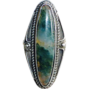 Native American Sterling Moss Agate Ring