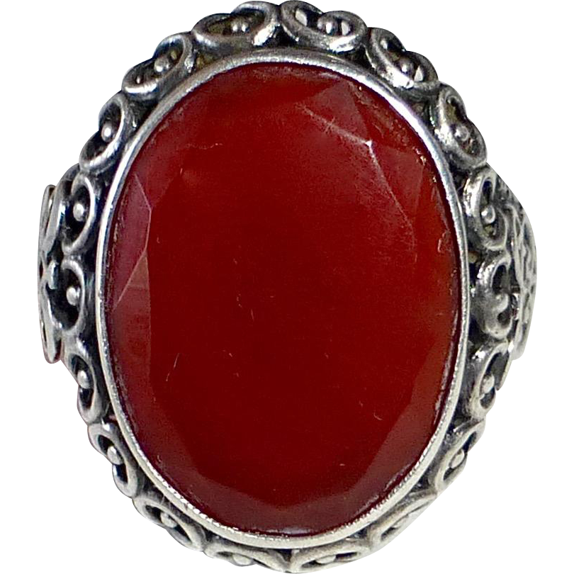 Sterling SIlver Filigree Ring w Carnelian Cabochon Faceted Sides
