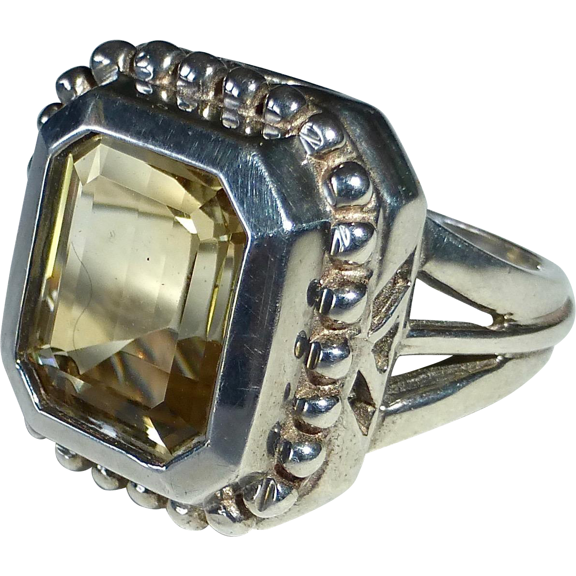 Sterling Silver Split Band Ring w Emerald Cut Citrine
