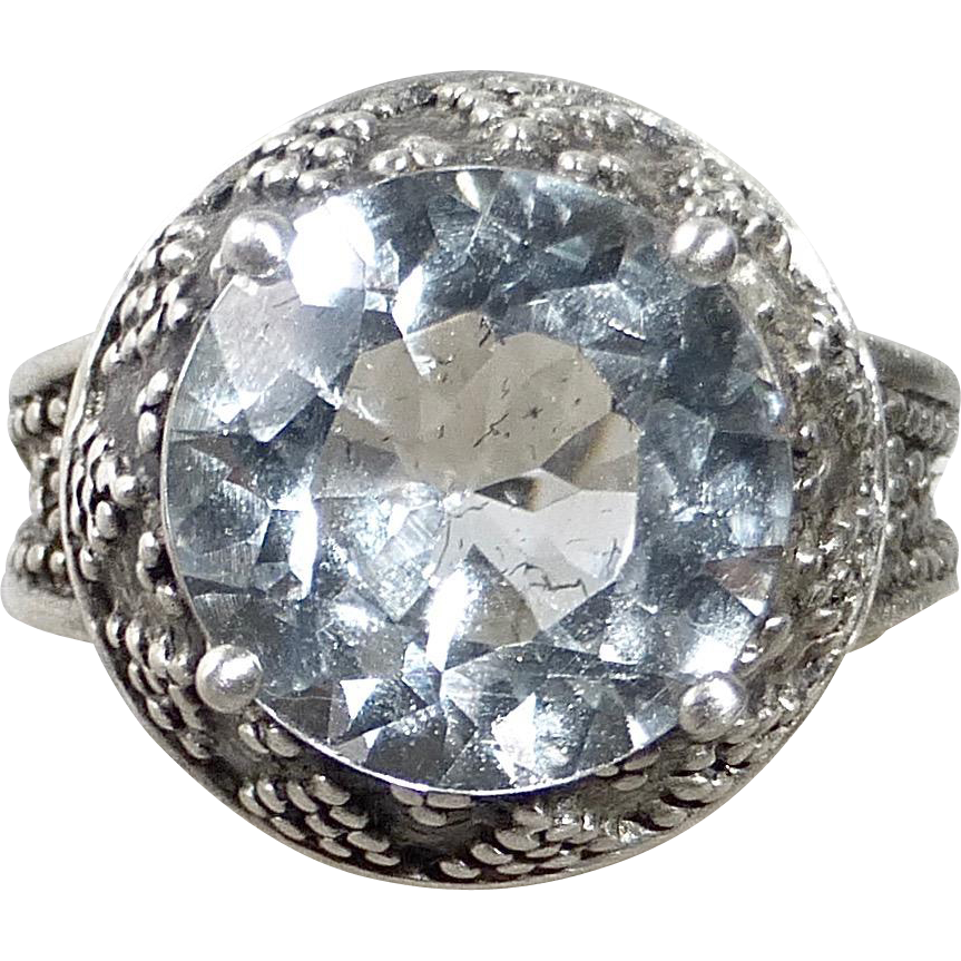 Granulated Sterling Ring w Large Faceted Crystal