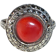 Art Deco Sterling Ring Red Coral & Marcasite