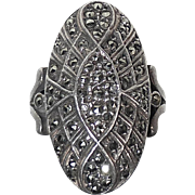 Sparkling Domed Oval & Layered Sterling Marcasite Ring
