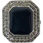 Art Deco Sterling Marcasite & Onyx Ring