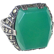 Art Deco Sterling Chrysoprase Marcasite Ring