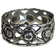 Sterling Silver Pierced Floral Band Ring