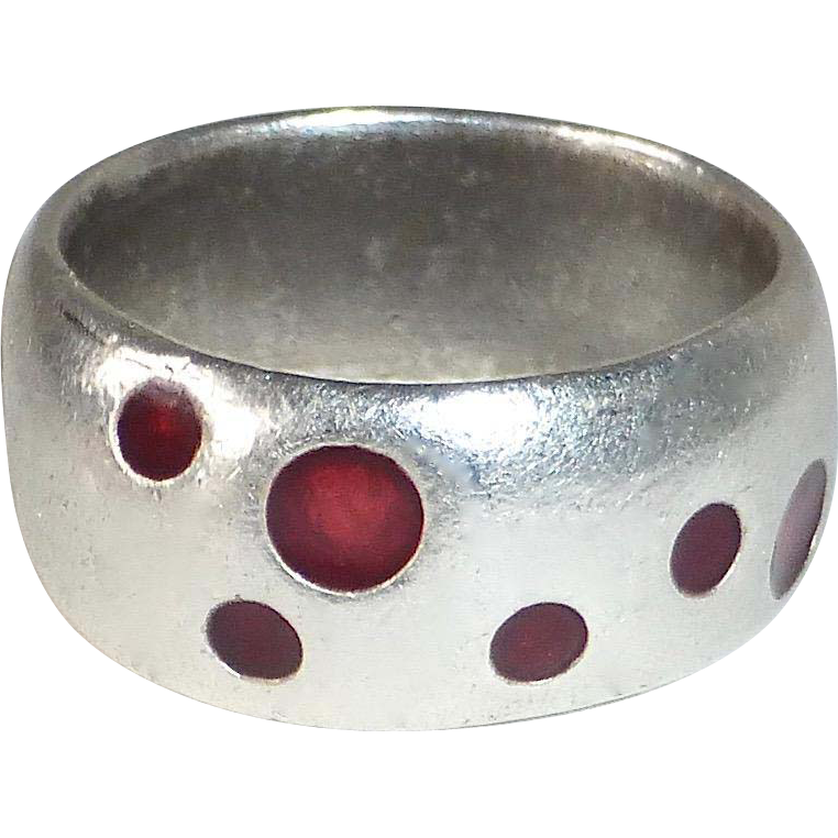 Sterling Band Ring w Red Enamel Polka Dots