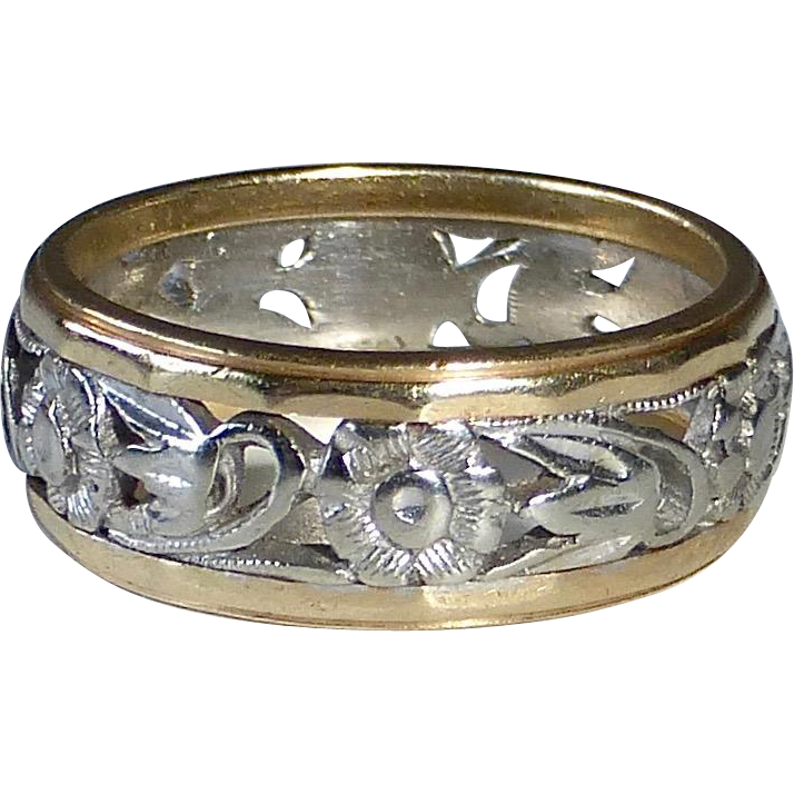 14k White & Yellow Gold Floral Design Band Ring