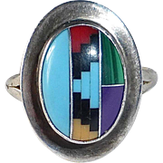 Native American Sterling Ring w Gemstone Inlay