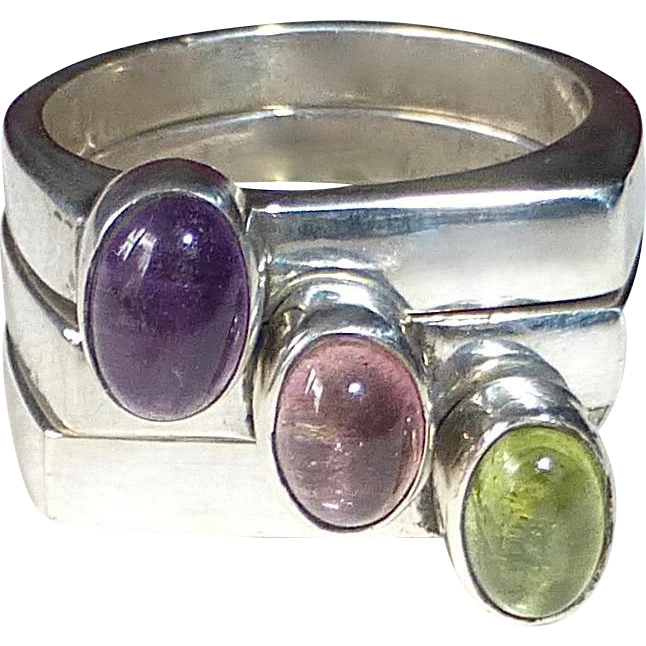 Set of 3 Sterling Stacking Rings Amethyst-Green Tourmaline-Pink Rubellite Tourmaline