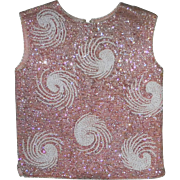 1950s Sequin & Beaded Sleeveless Pink Wool Top