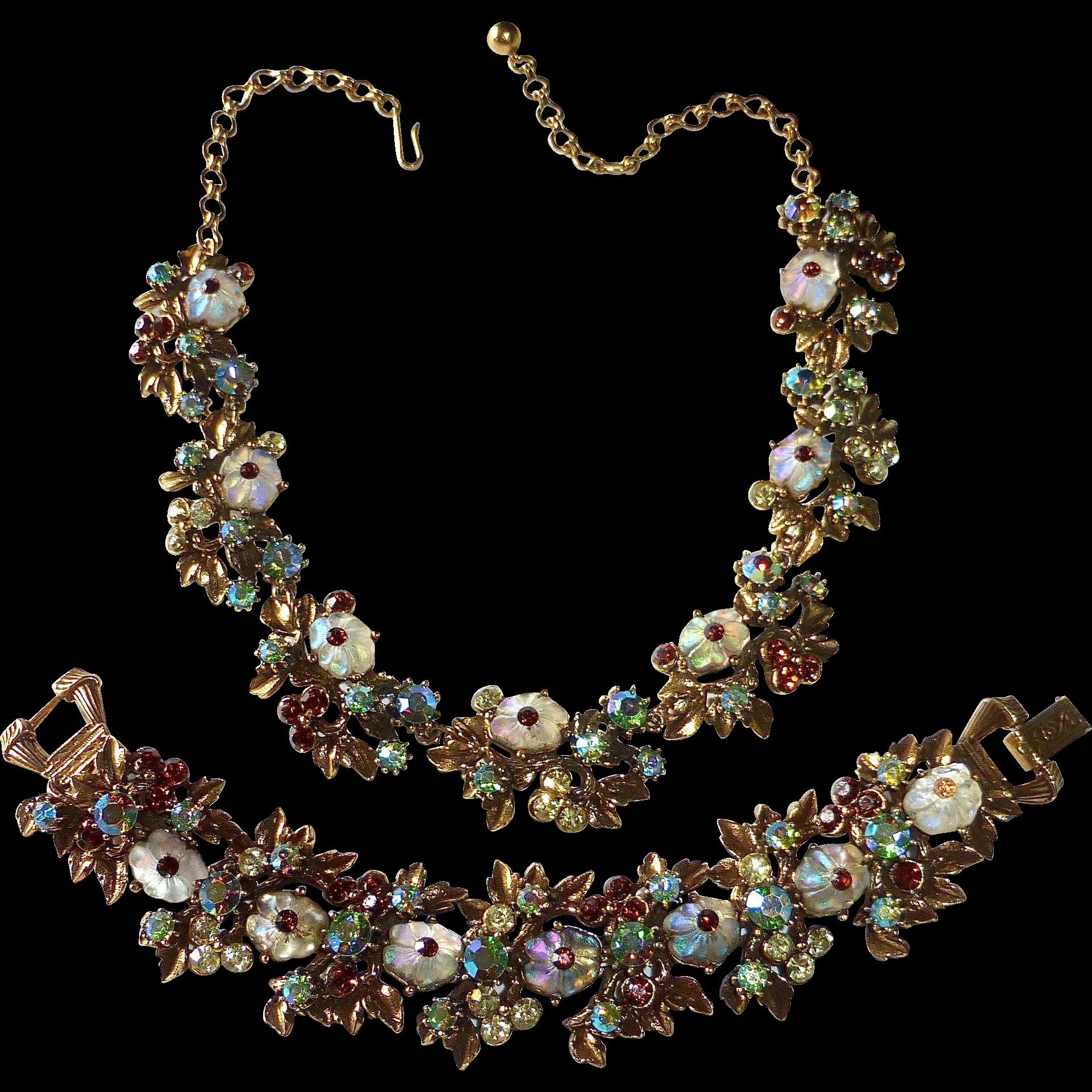 Florenza Antiqued Gold Tone Fruit Salad Necklace & Bracelet Set