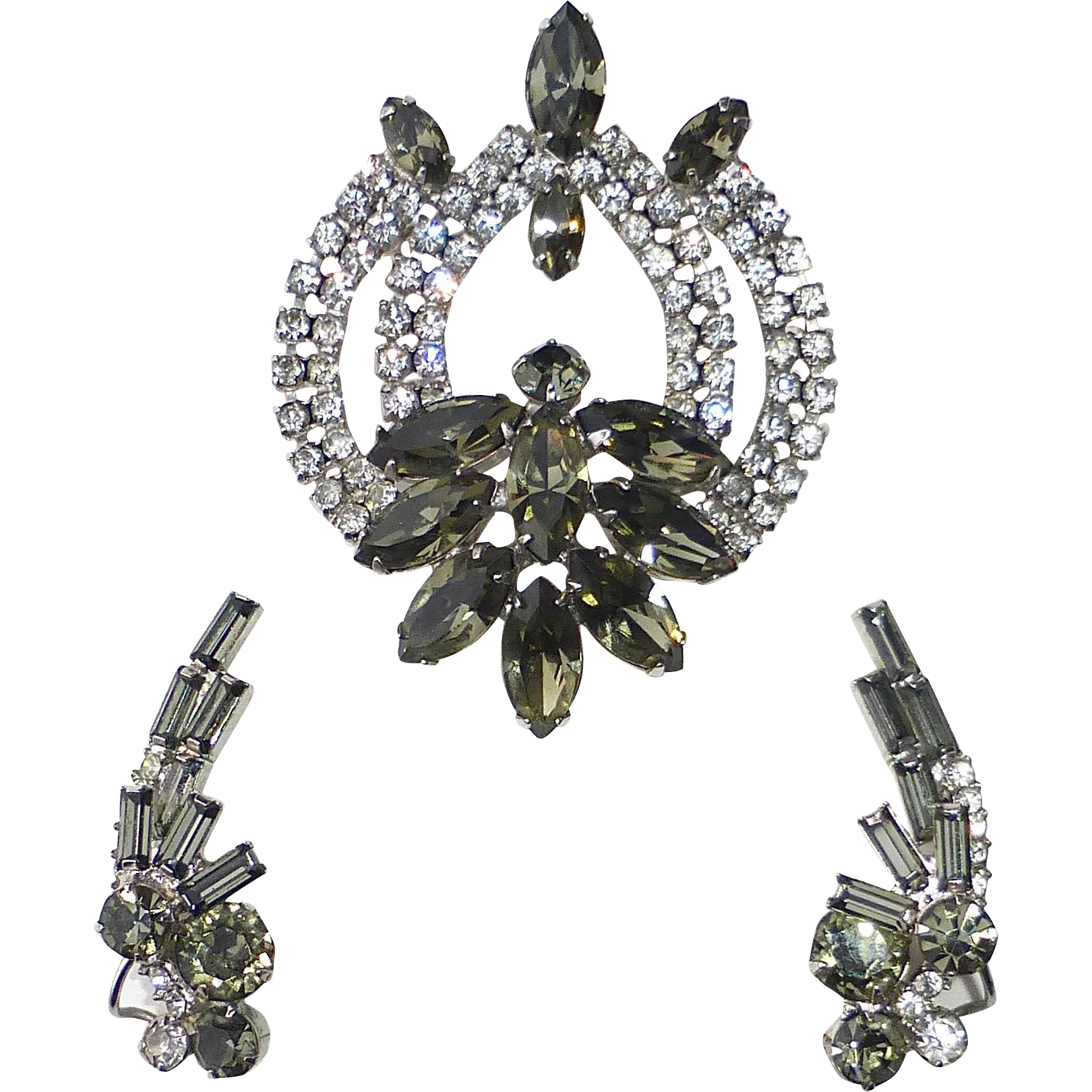 Sandor Sparkling Rhinestone Pin & Earrings Set