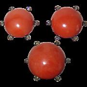18k Coral Earrings & Pin Set Rose Cut Diamonds