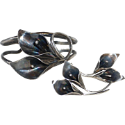 Stuart Nye Sterling Calla Lily Cuff Bracelet & Earrings