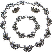 Viking Craft Sterling 3 Pc Set Acorn Design Necklace Bracelet Earrings