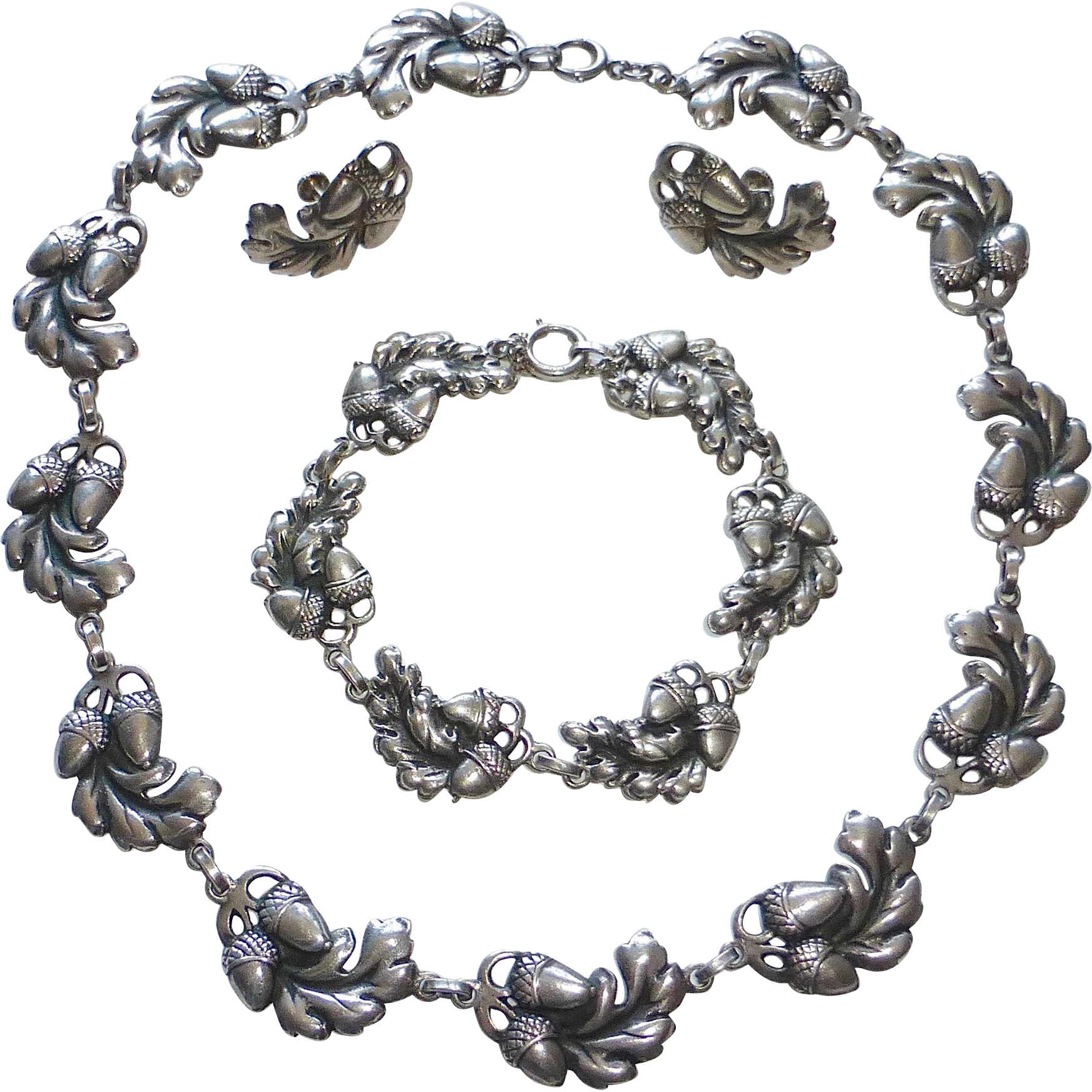 Viking craft sterling 3 pc set acorn design necklace for Acorn necklace craft