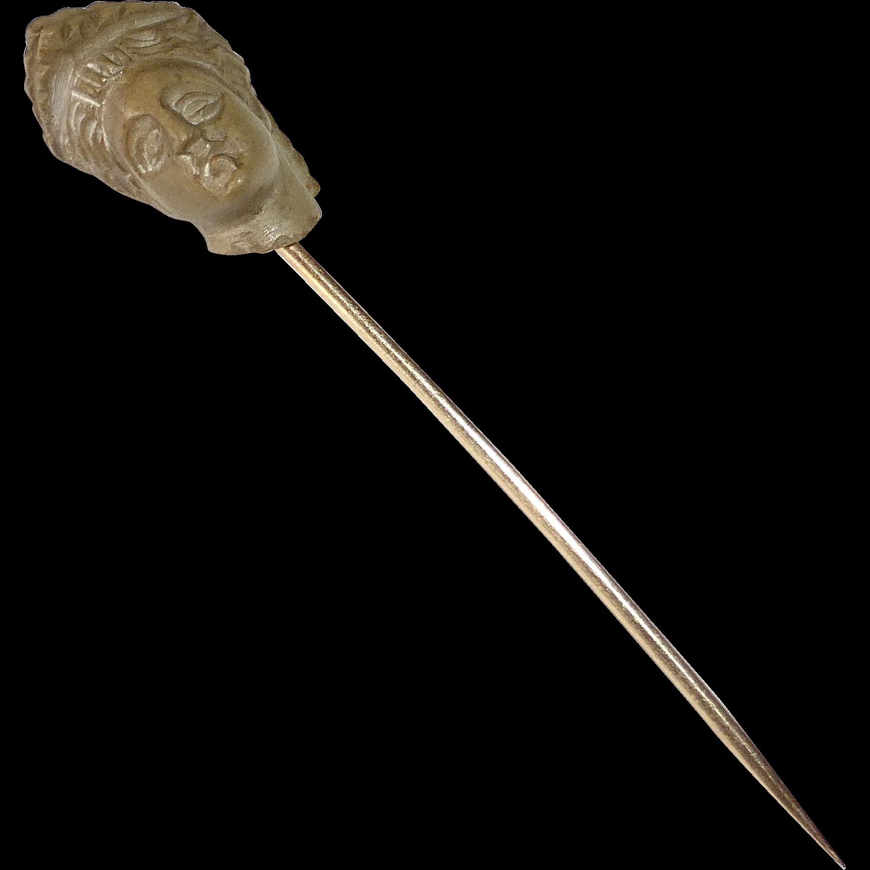 Georgian Lava Cameo Greco-Roman Head 12k Stickpin