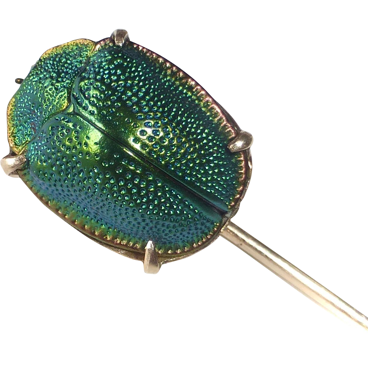 Egyptian Revival 10k Genuine Iridescent Hard Shell Beetle Victorian Stickpin
