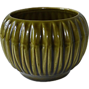 McCoy Pottery Olive Green Fluted Round Vase
