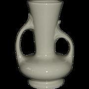 White Glaze Asymmetrical Two Handle Vase