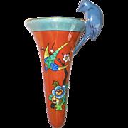 Japan Art Deco Lusterware Porcelain Wallpocket Painted & Sculptural Birds