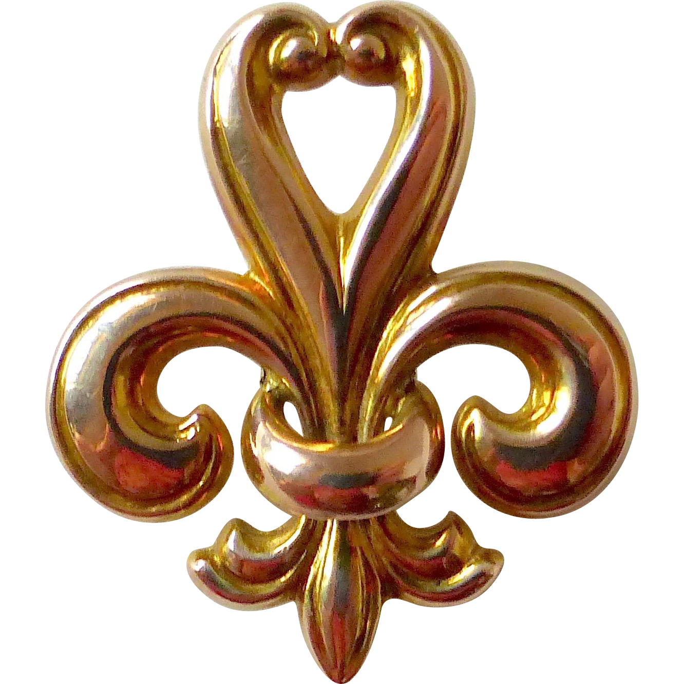 10k Rose Gold Edwardian Fleur-de-Lis Watch Pin