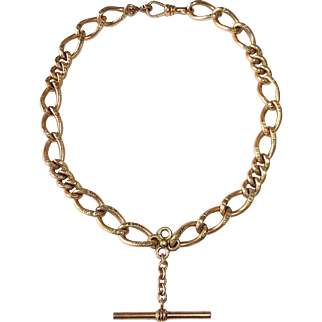 Victorian Rose Gold Filled Incised Large Link Watch Chain