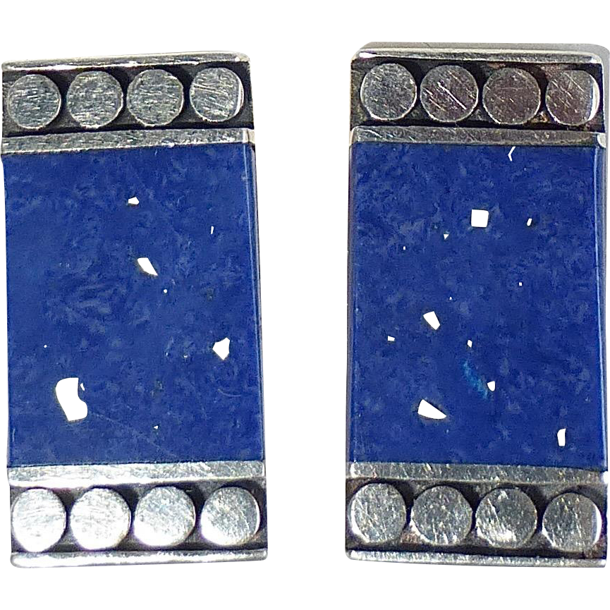 Sterling Silver & Lapis Lazuli Rectangular Clip Earrings