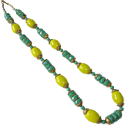 Art Deco Chartreuse-Green-Brass Glass Bead Necklace