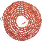 Victorian Extra Long Coral Bead Necklace 10k Clasp
