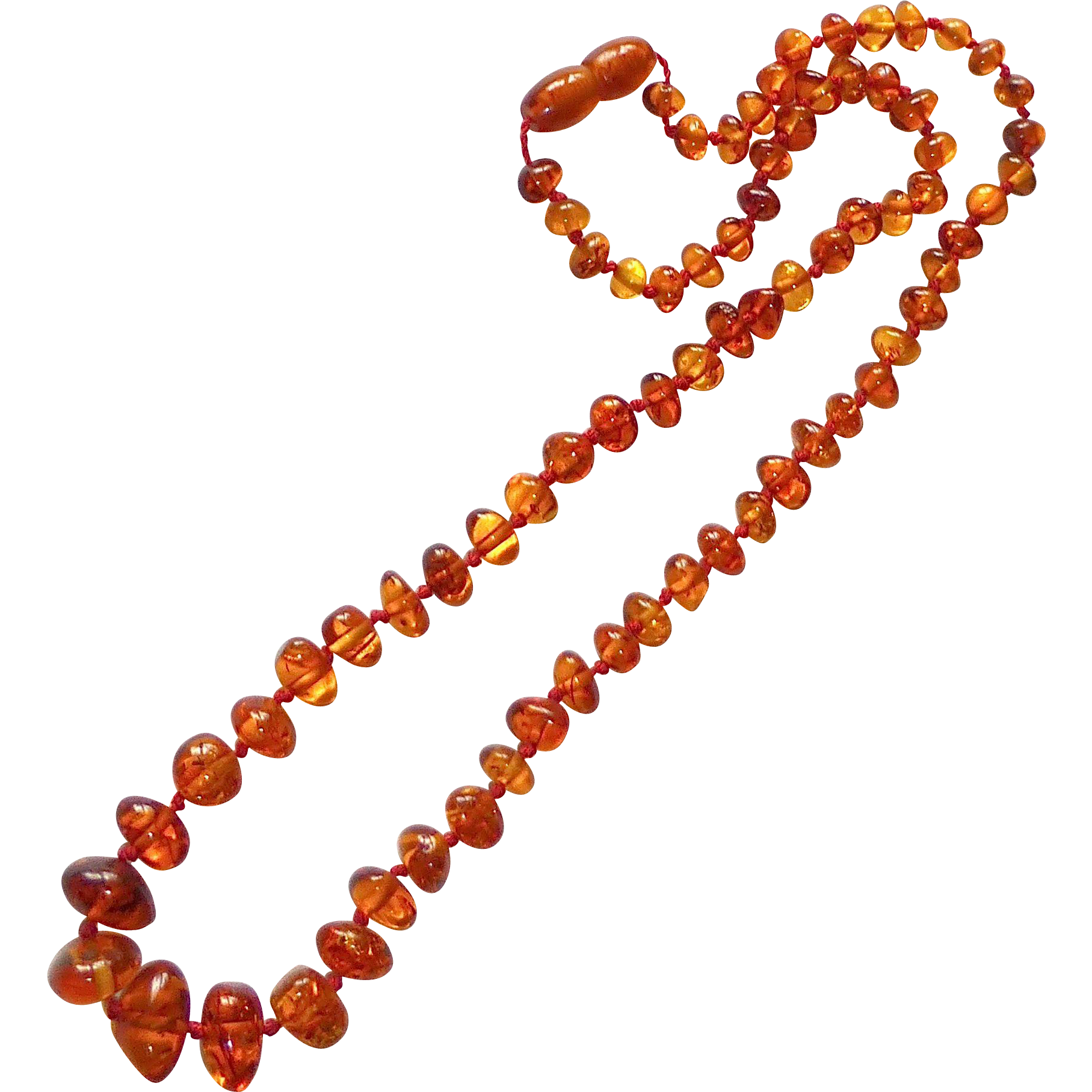 Natural Translucent Amber Nugget Bead Necklace