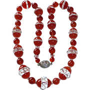 Art Deco Carnelian & Quartz Crystal Bead Necklace