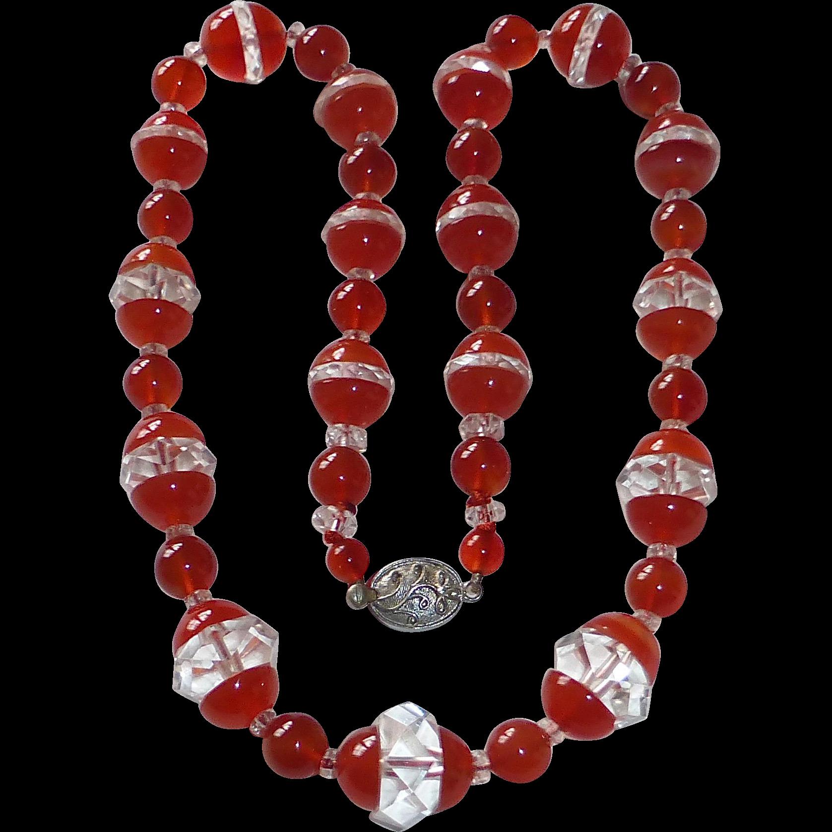 Art Deco Carnelian & Quartz Crystal Bead Necklace