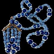 Art Deco Shades of Blue Glass Bead Necklace Brass Filigree & Bead Drop