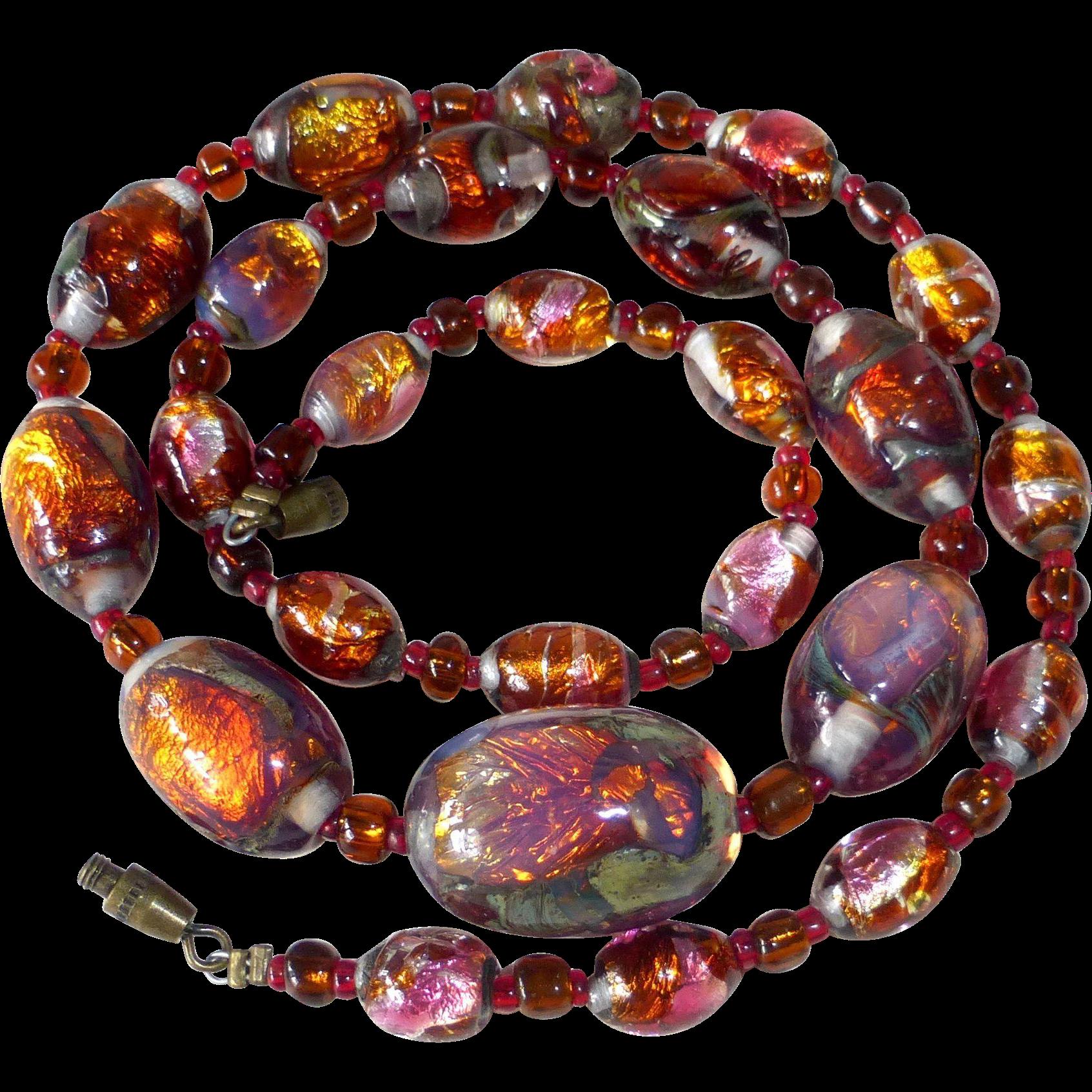 Rare 'Fire Opal' Art Deco Iridescent Foil Underglass Bead Necklace