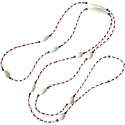 Art Deco White Red & Black Flapper Bead Necklace