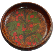 Flemish Folk Art Pyrography Bowl Cherry Design 1905