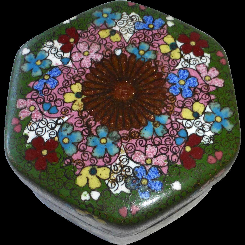 19th C Chinese Cloisonne Hexagonal Lidded Trinket Box
