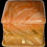 Art Deco Orange Marble Celluloid & Velvet Ring Hinged Presentation Box