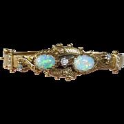 14k Victorian Revival Opal Diamond & Seed Pearl Hinged Bracelet
