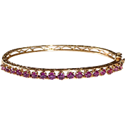 14k Yellow Gold Ruby Hinged Bangle Bracelet