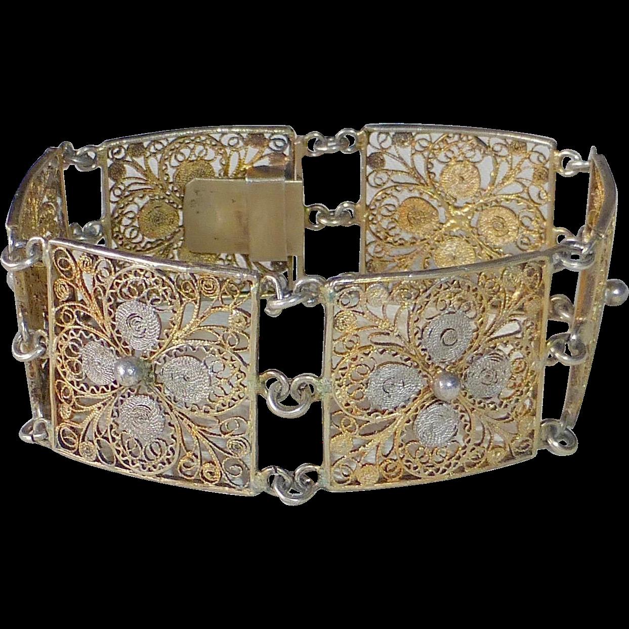 800 Silver & Gold Filled Silver Filigree Panel Bracelet