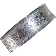 835 Silver Leaf Pattern Wide Hinged Bangle Bracelet