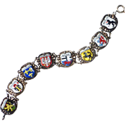Sterling & Enamel German City Shields Souvenir Bracelet