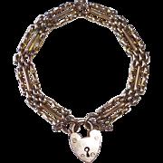 Victorian 9k Rose Gold Link Bracelet w Lock Clasp